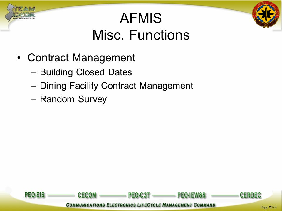 AFMIS Misc. Functions Contract Management Building Closed Dates