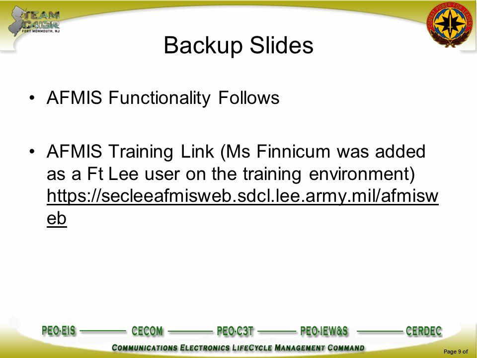 Backup Slides AFMIS Functionality Follows