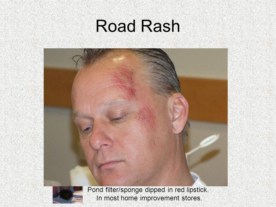 Road Rash Pond filter/sponge dipped in red lipstick.