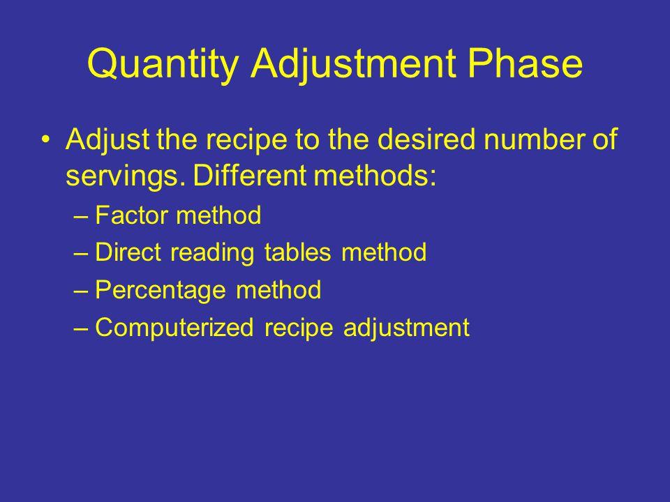 Quantity Adjustment Phase