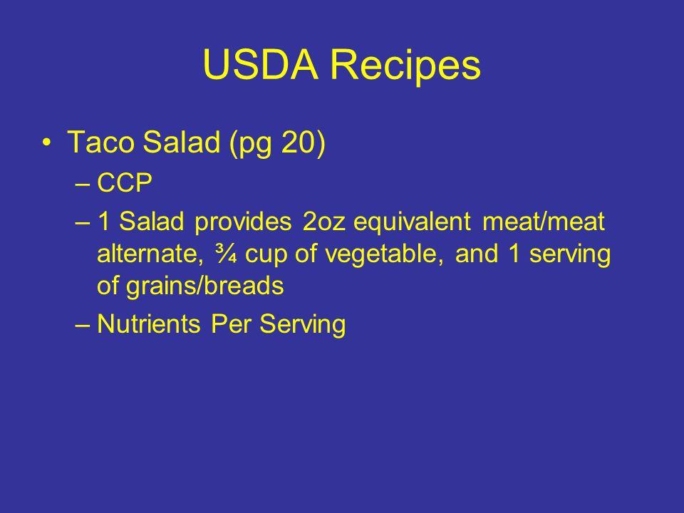 USDA Recipes Taco Salad (pg 20) CCP