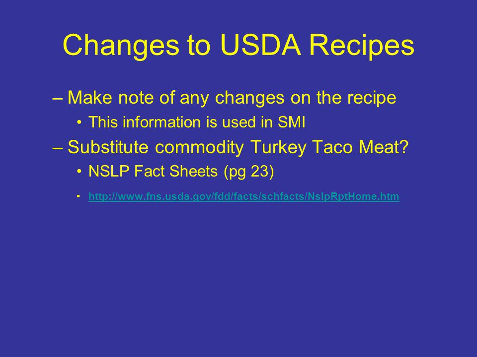 Changes to USDA Recipes
