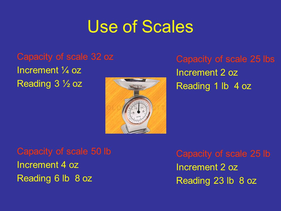 Use of Scales Capacity of scale 32 oz Capacity of scale 25 lbs