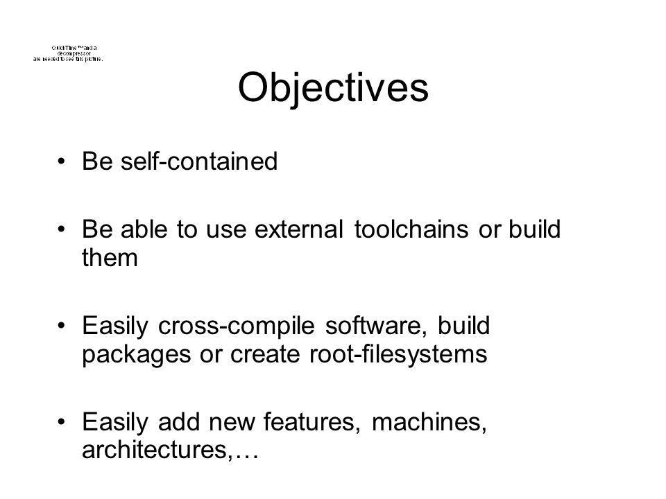 Objectives Be self-contained