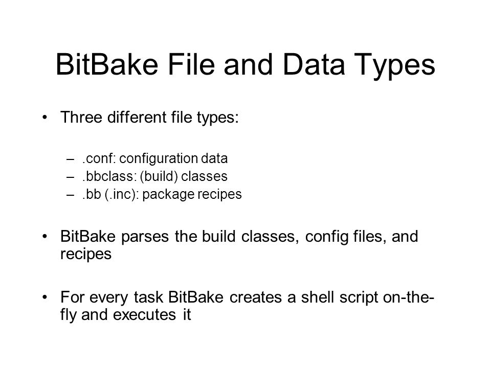BitBake File and Data Types