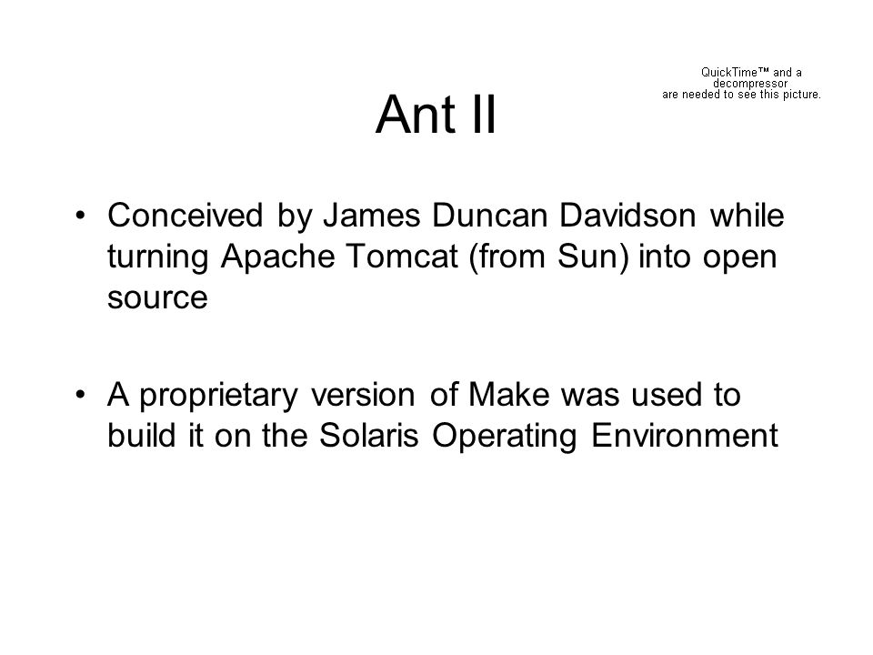 Ant II Conceived by James Duncan Davidson while turning Apache Tomcat (from Sun) into open source.