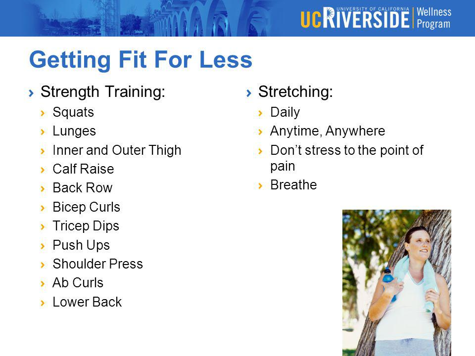 Getting Fit For Less Strength Training: Stretching: Squats Lunges