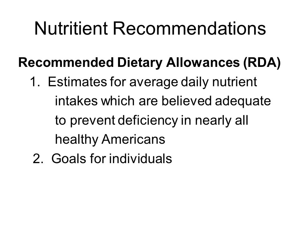 Nutritient Recommendations
