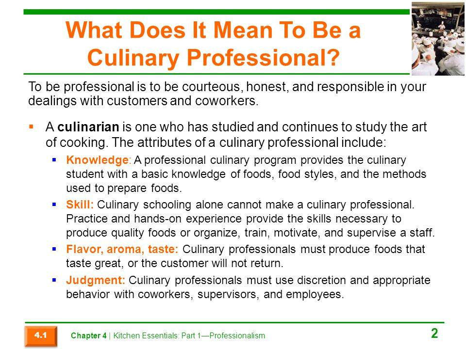 What Does It Mean To Be a Culinary Professional