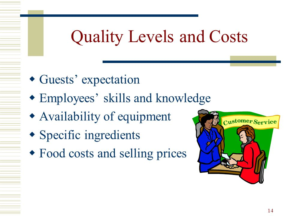 Quality Levels and Costs