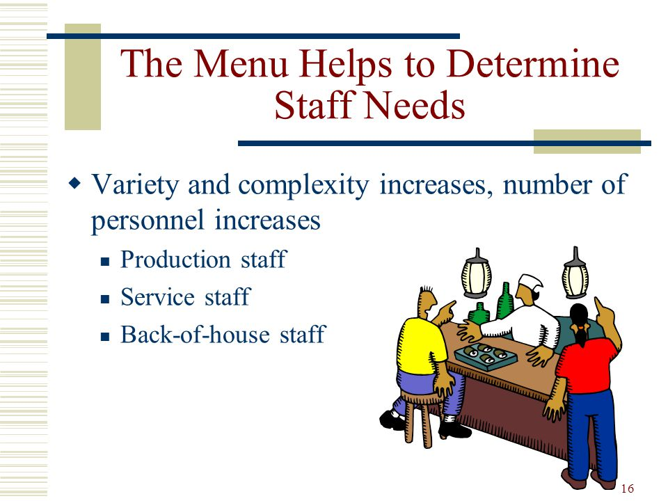The Menu Helps to Determine Staff Needs