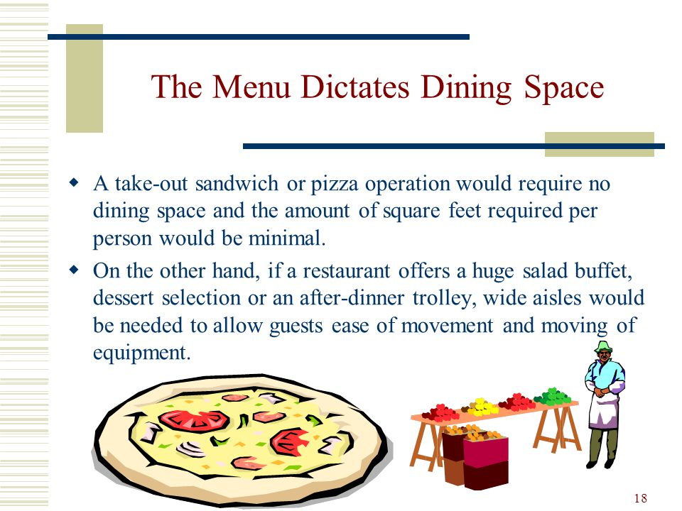 The Menu Dictates Dining Space