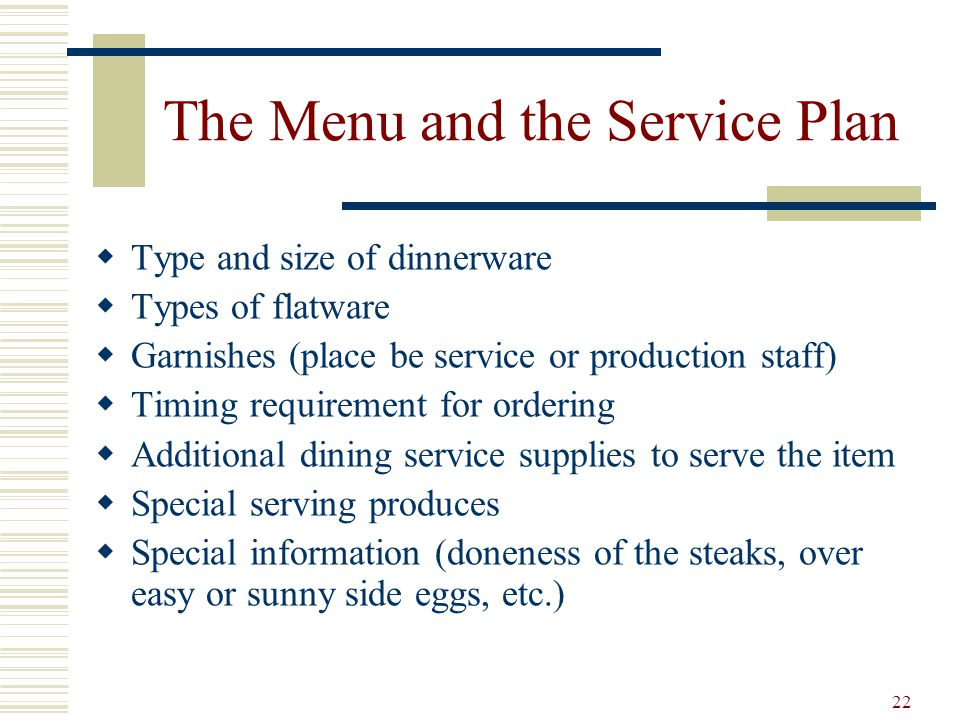 The Menu and the Service Plan