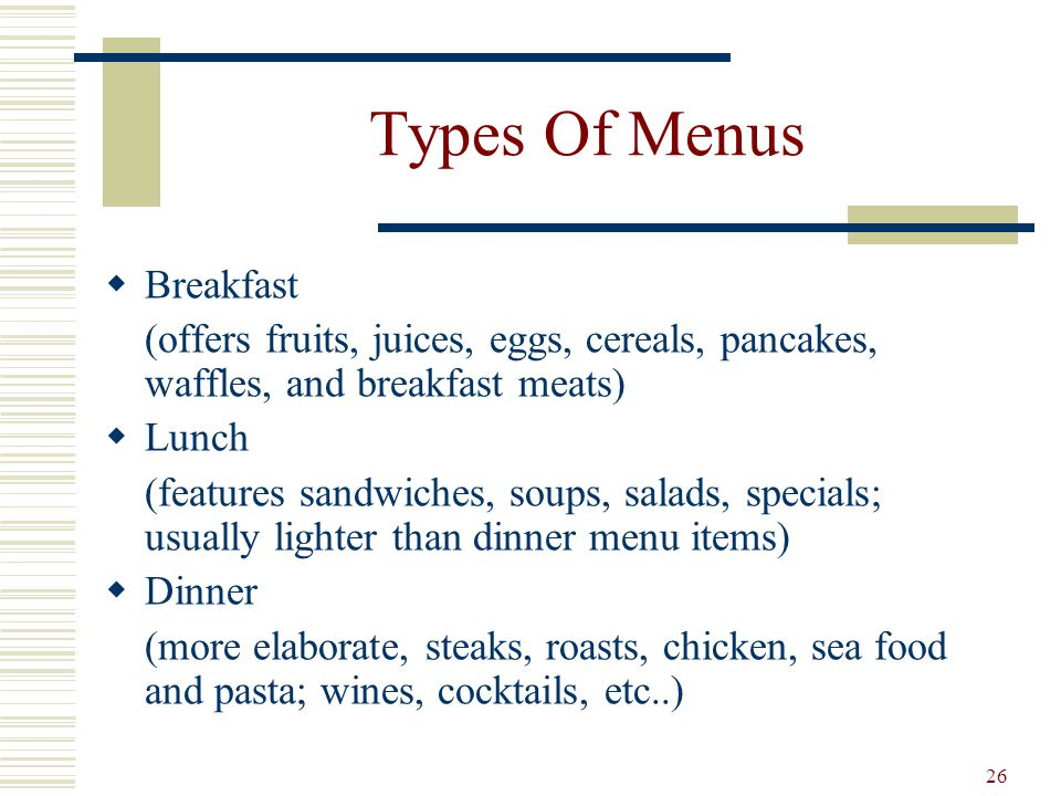 Types Of Menus Breakfast