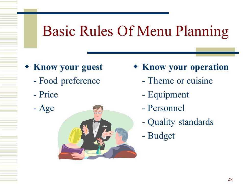 Basic Rules Of Menu Planning