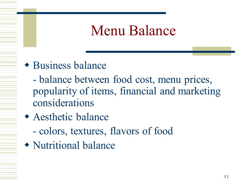 Menu Balance Business balance
