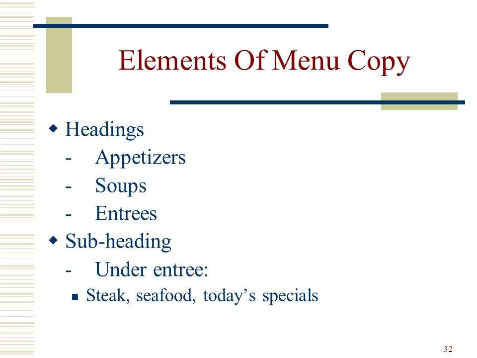 Elements Of Menu Copy Headings - Appetizers - Soups - Entrees