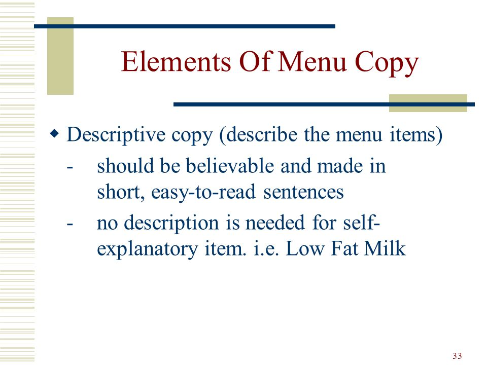Elements Of Menu Copy Descriptive copy (describe the menu items)