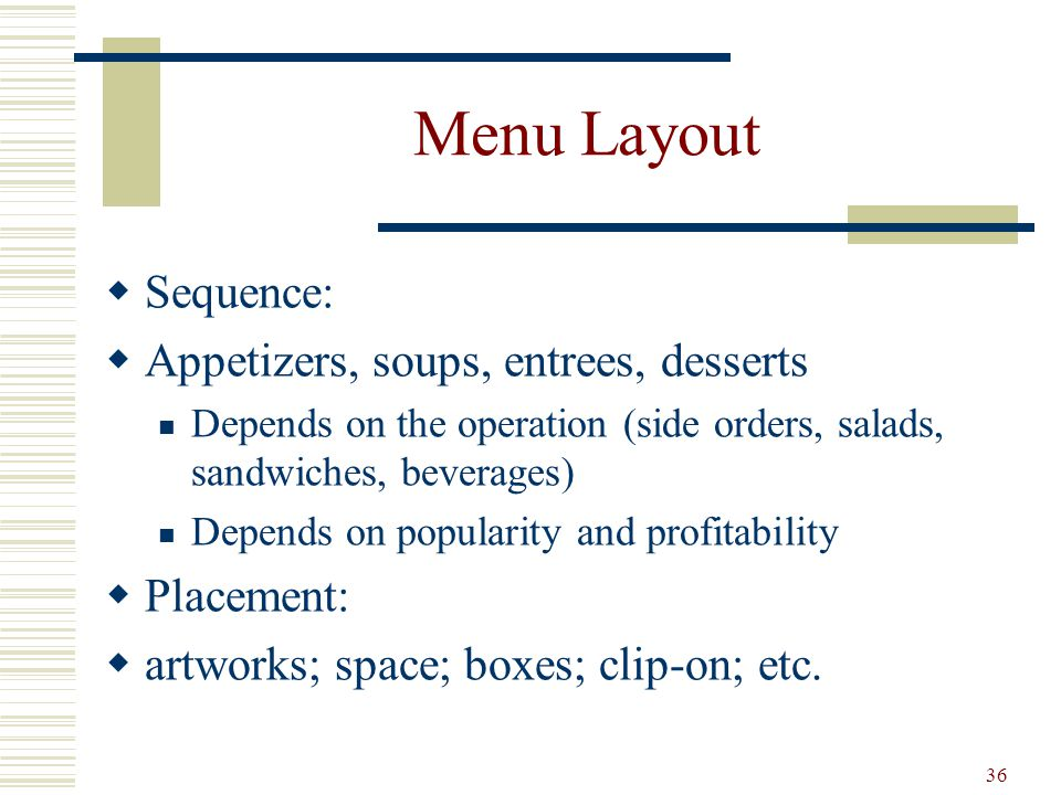 Menu Layout Sequence: Appetizers, soups, entrees, desserts Placement: