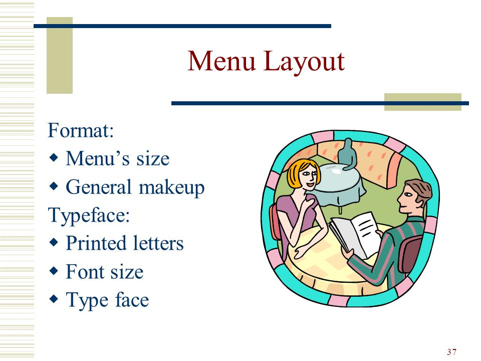 Menu Layout Format: Menu's size General makeup Typeface: