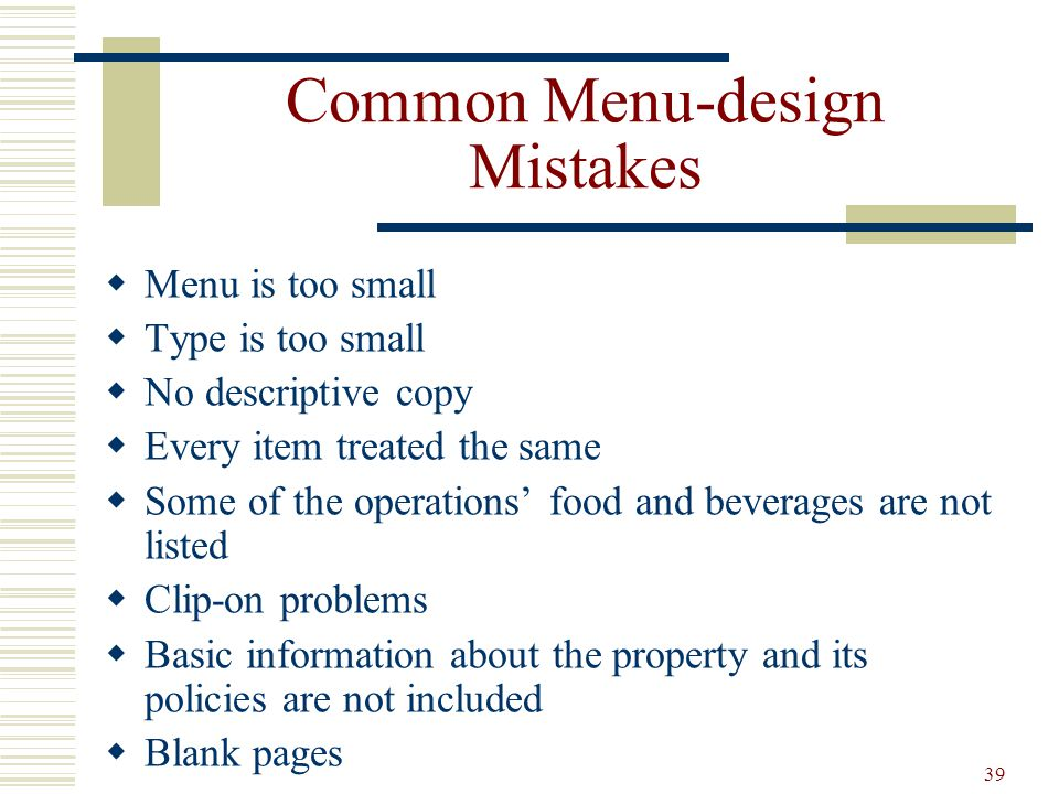 Common Menu-design Mistakes