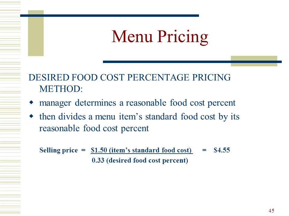 Menu Pricing DESIRED FOOD COST PERCENTAGE PRICING METHOD: