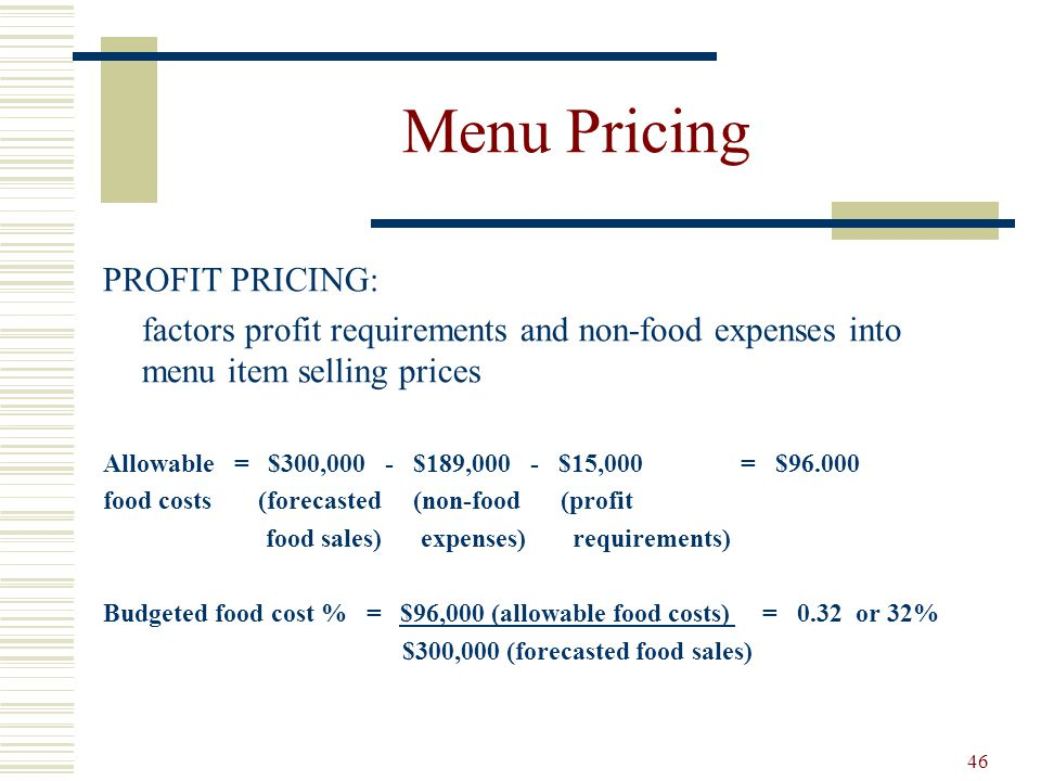 Menu Pricing PROFIT PRICING: