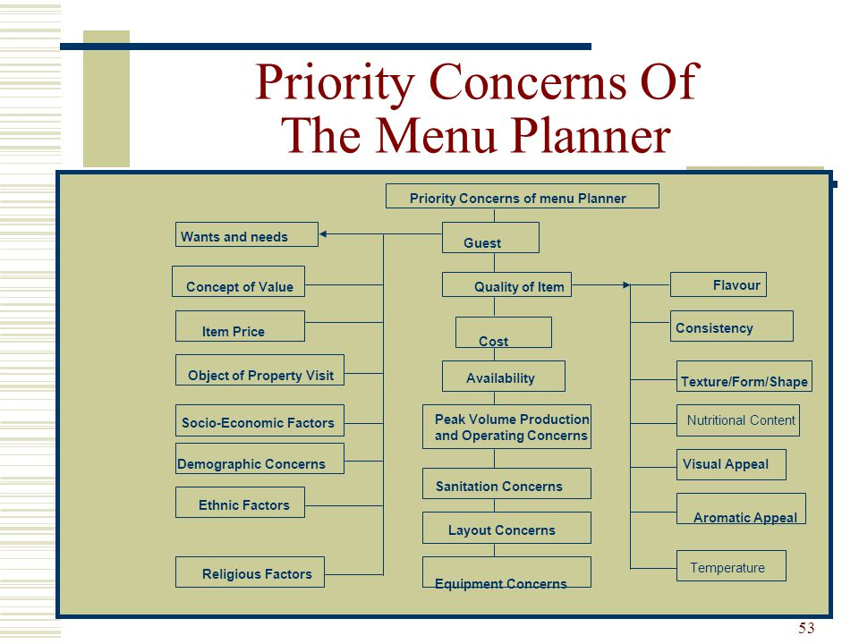 Priority Concerns Of The Menu Planner