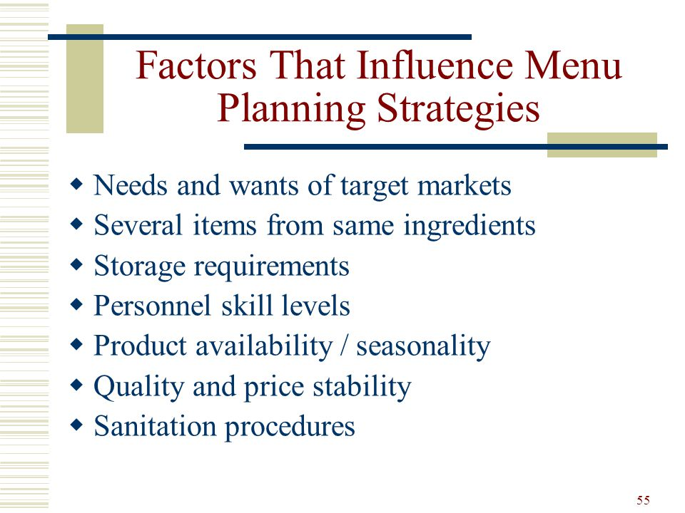 Factors That Influence Menu Planning Strategies