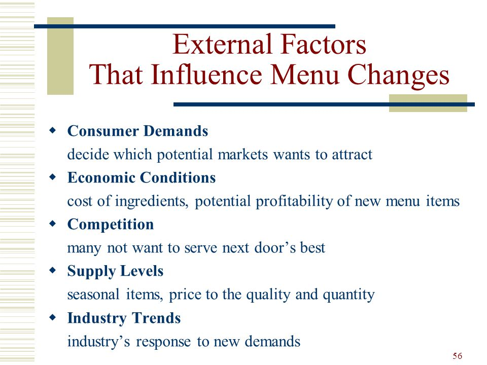External Factors That Influence Menu Changes
