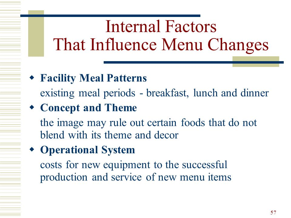 Internal Factors That Influence Menu Changes