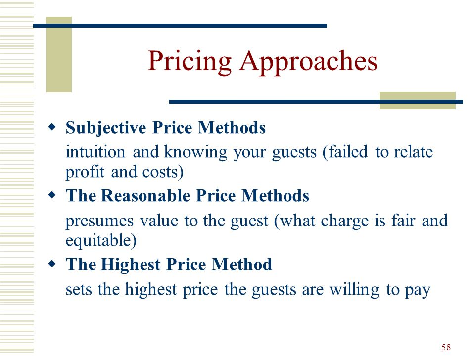 Pricing Approaches Subjective Price Methods