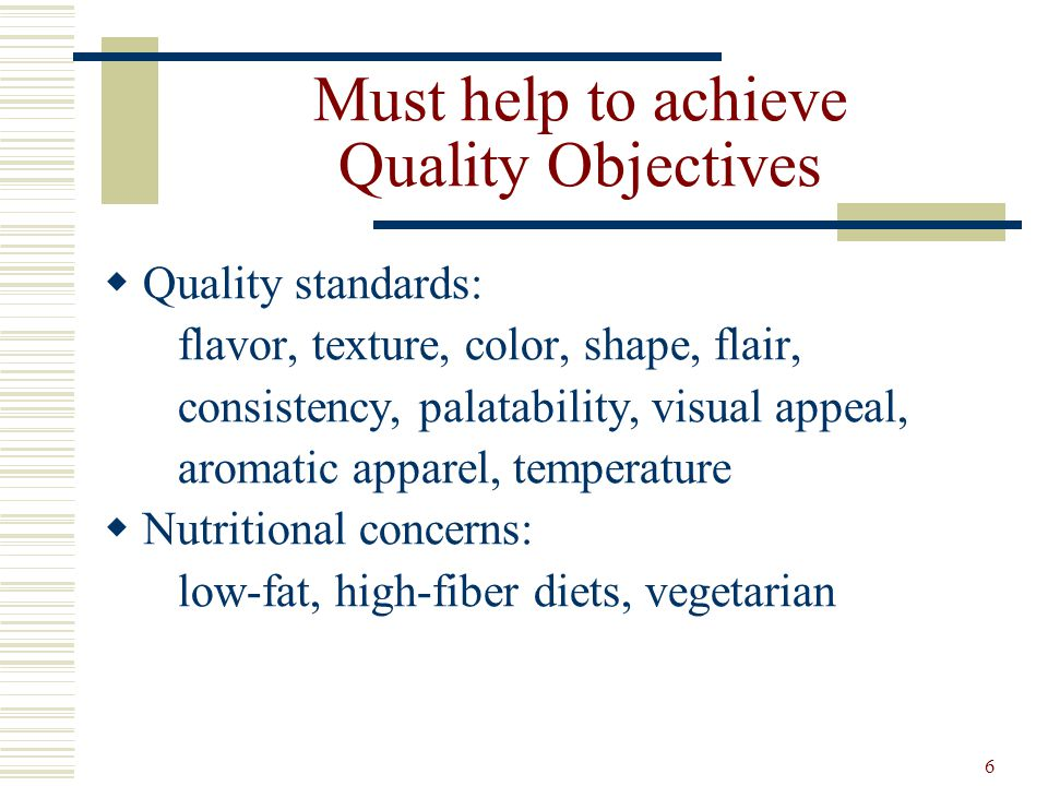 Must help to achieve Quality Objectives