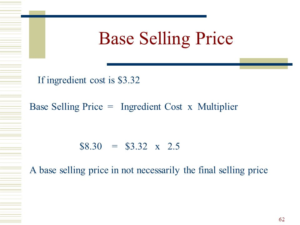 Base Selling Price If ingredient cost is $3.32
