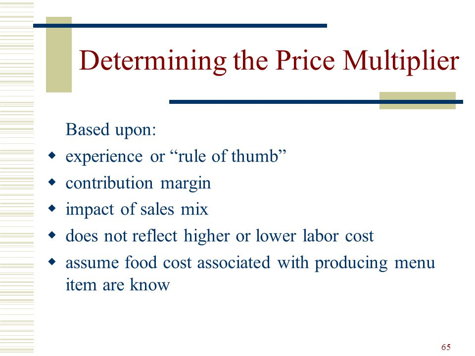 Determining the Price Multiplier