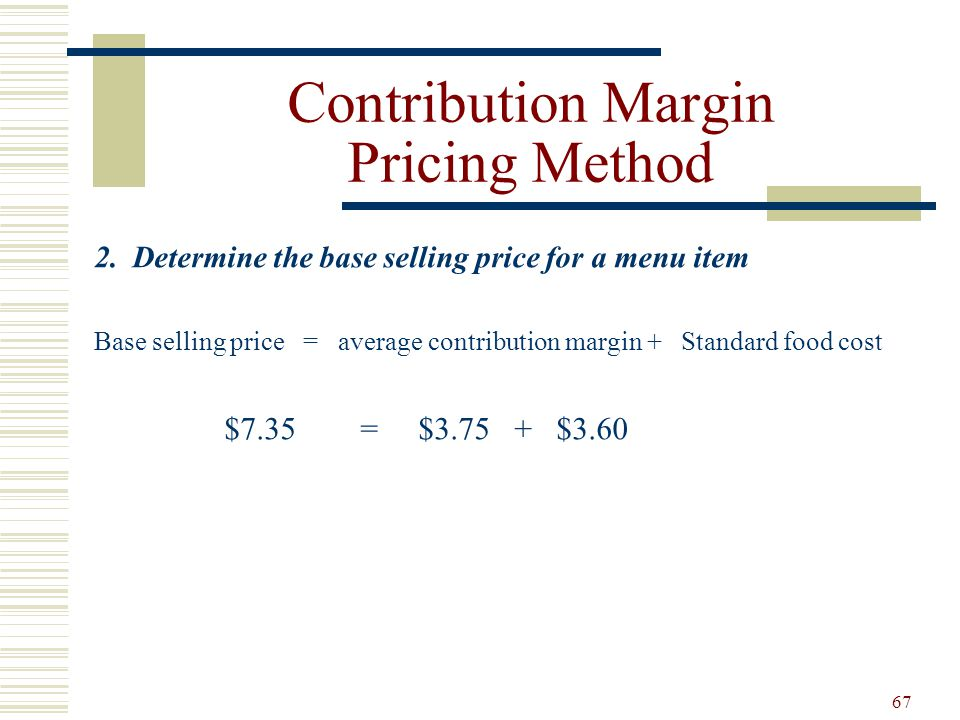 Contribution Margin Pricing Method