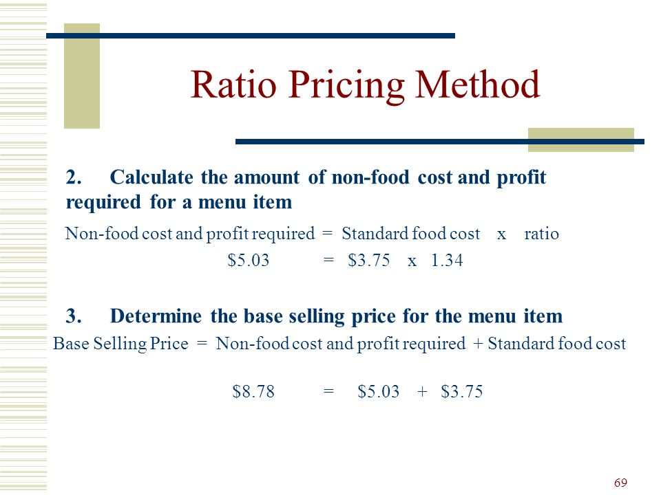 Ratio Pricing Method 2. Calculate the amount of non-food cost and profit required for a menu item.
