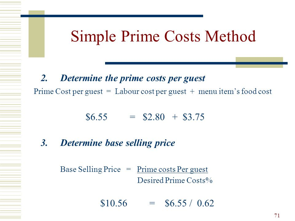Simple Prime Costs Method