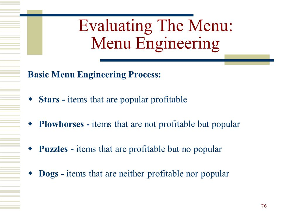 Evaluating The Menu: Menu Engineering