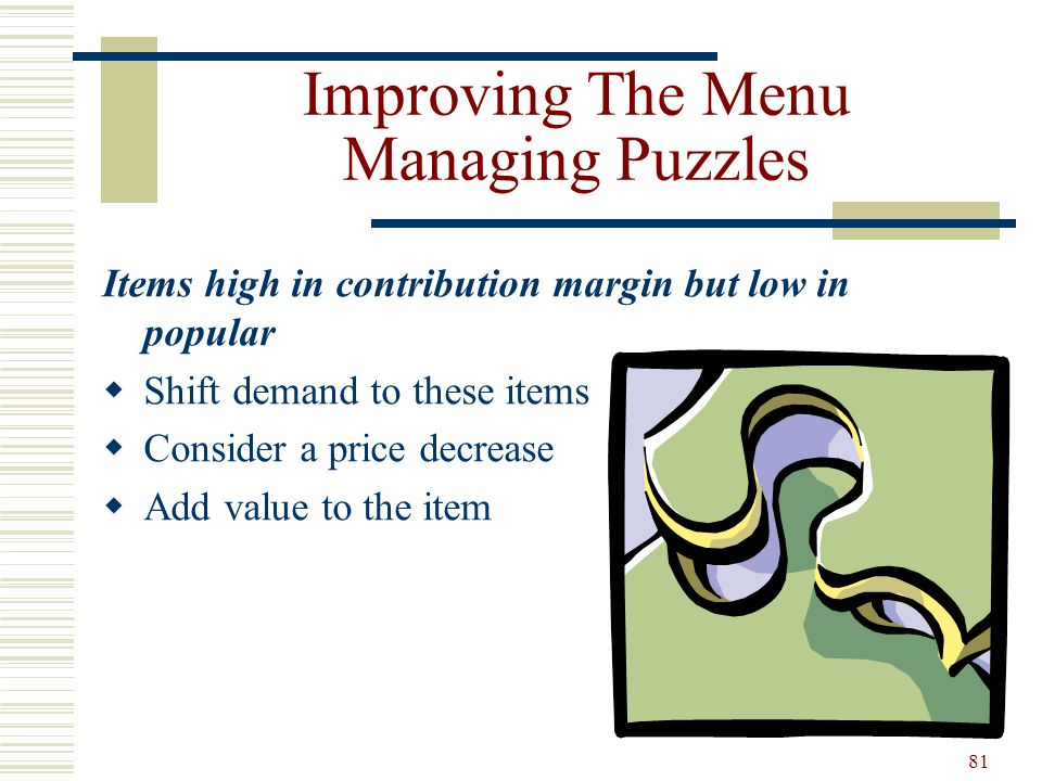 Improving The Menu Managing Puzzles