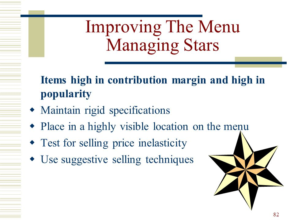 Improving The Menu Managing Stars