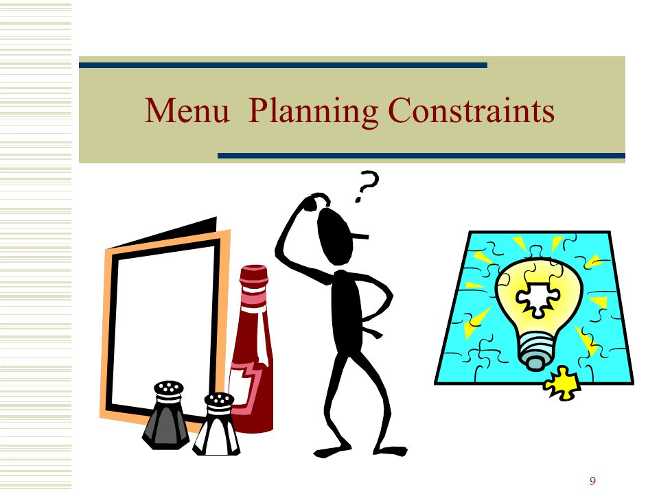 Menu Planning Constraints