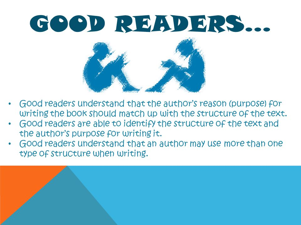 Good Readers… Good readers understand that the author's reason (purpose) for writing the book should match up with the structure of the text.
