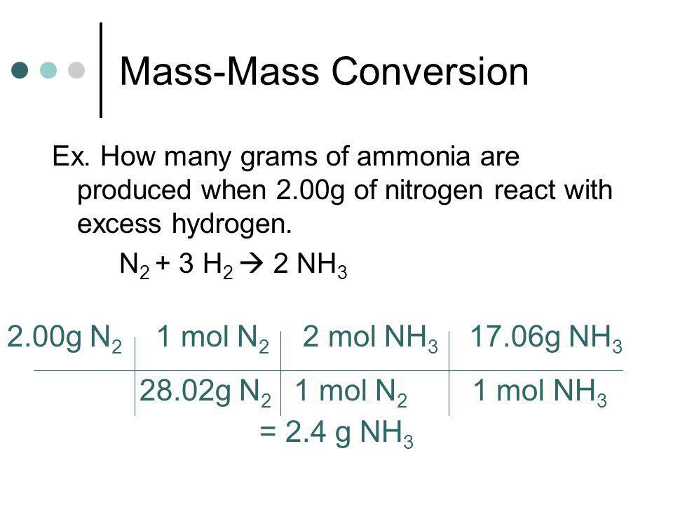 Mass-Mass Conversion 2.00g N2 1 mol N2 2 mol NH3 17.06g NH3