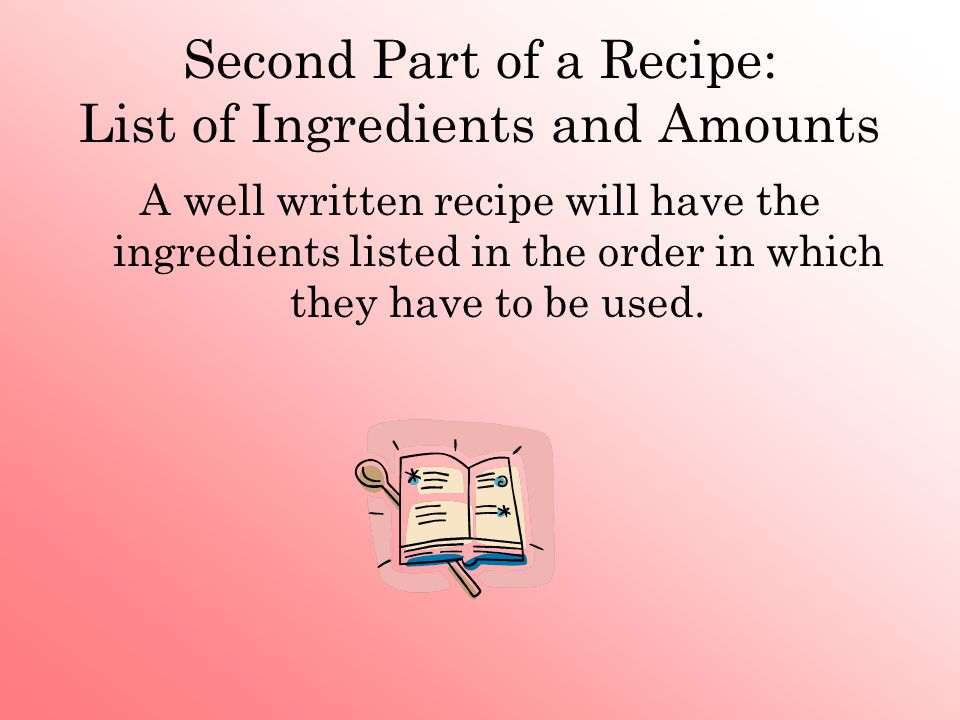 Second Part of a Recipe: List of Ingredients and Amounts