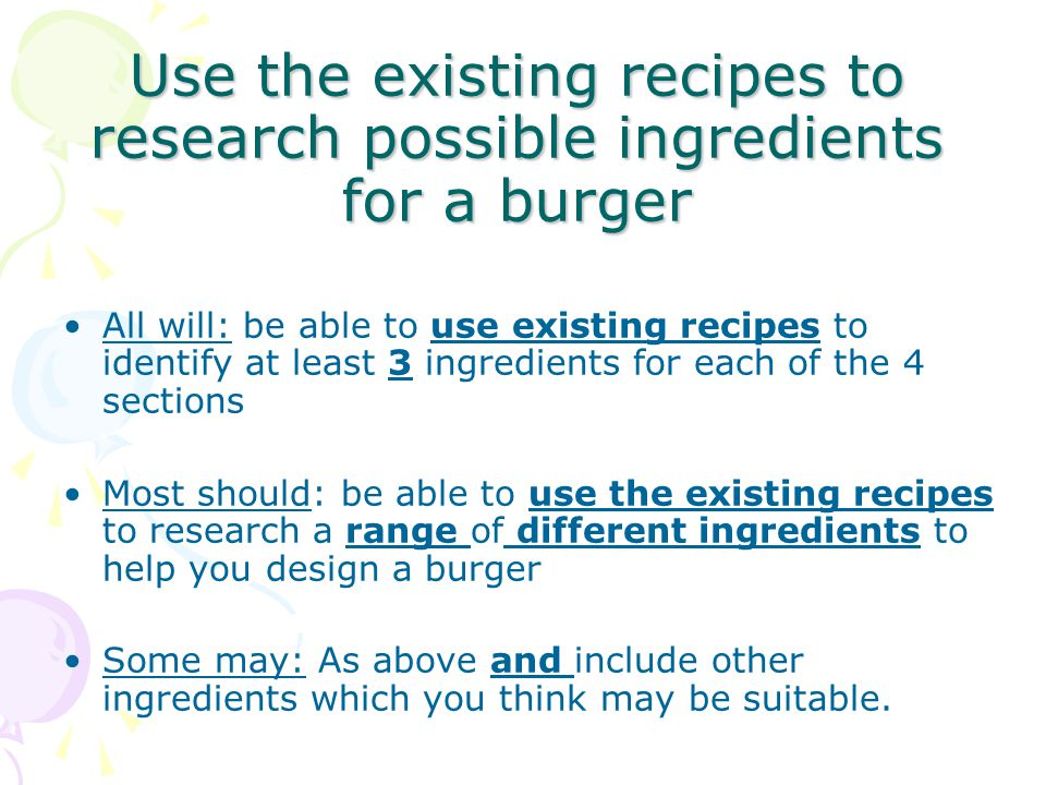 Use the existing recipes to research possible ingredients for a burger