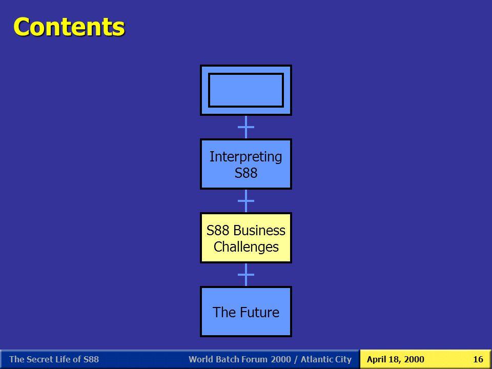 Contents Interpreting S88 Interpreting S88 S88 Business Challenges