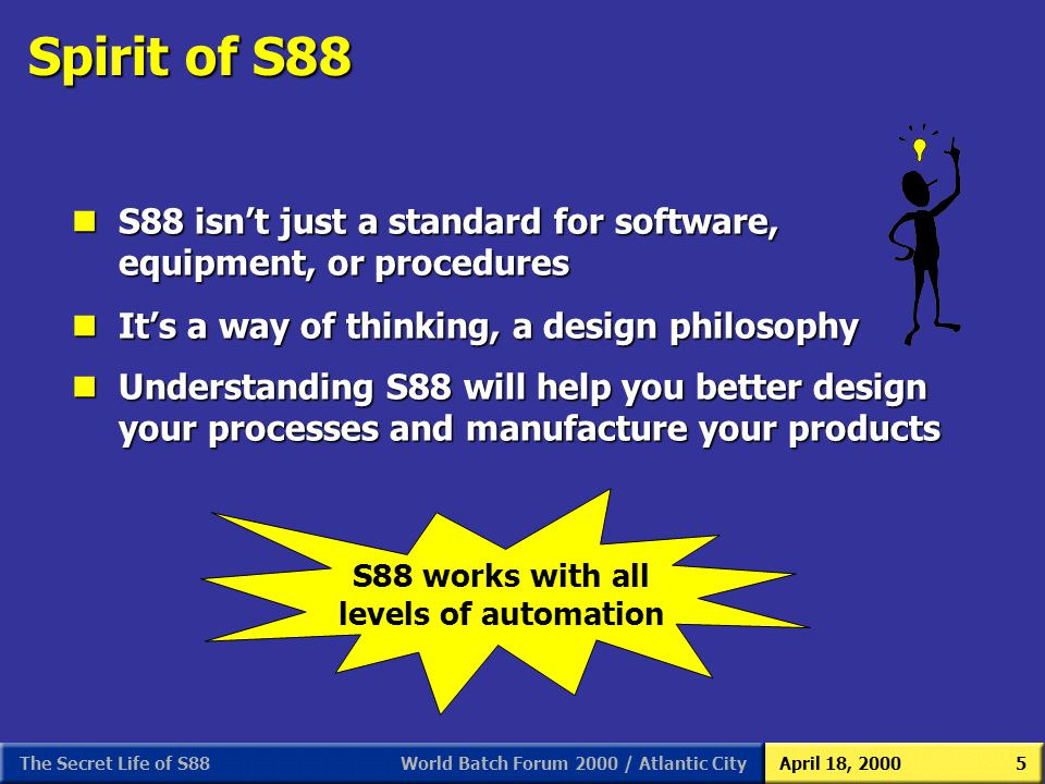 S88 As We (Users) See It 3/31/2017. Spirit of S88. S88 isn't just a standard for software, equipment, or procedures.