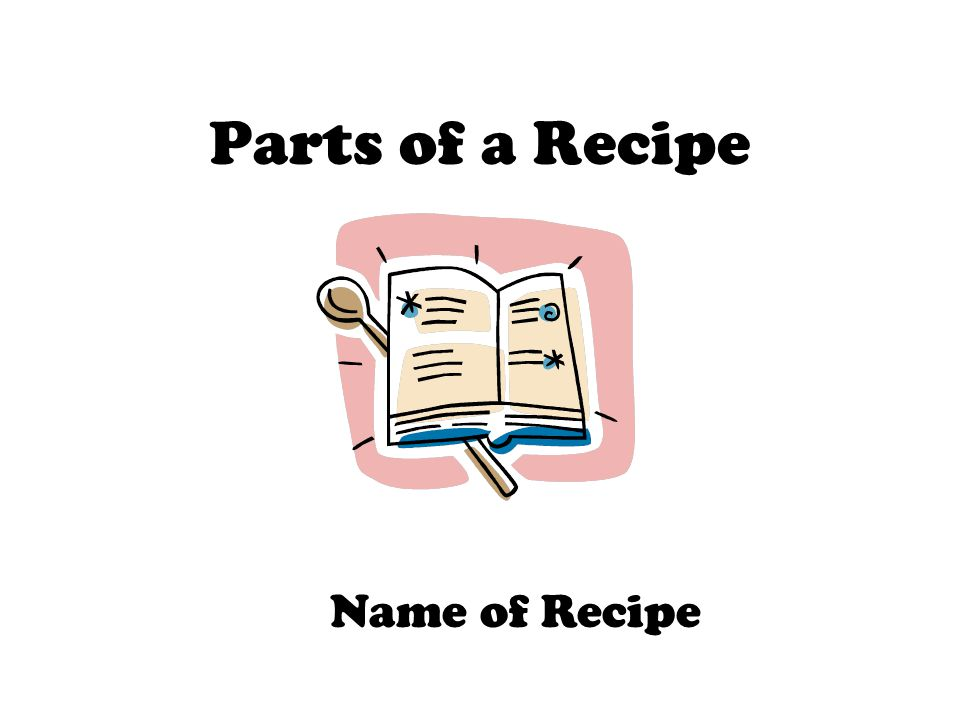 Parts of a Recipe Name of Recipe