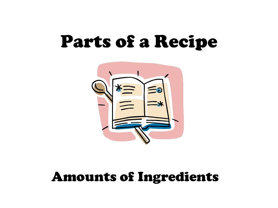 Parts of a Recipe Amounts of Ingredients
